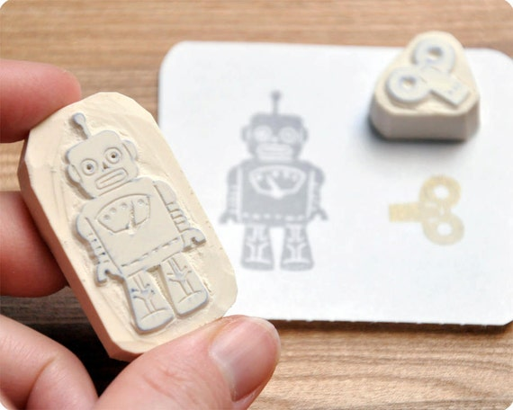 Geekery Robot hand carved rubber stamp set of 2