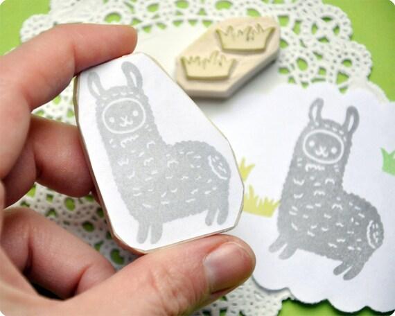 Llama hand carved rubber stamp set of 2. Handmade rubber stamp. Rubber stamp