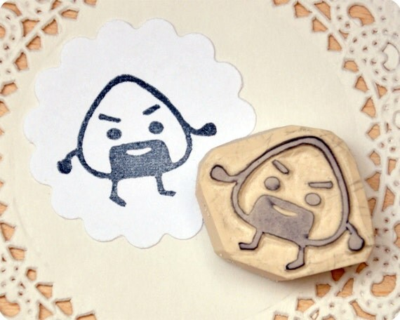 Onigiri guy sushi hand carved rubber stamp