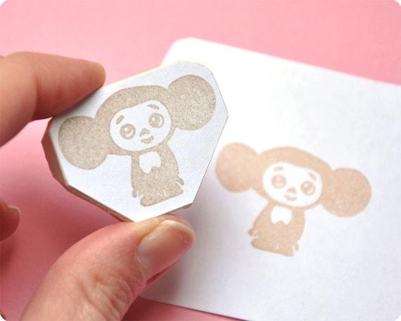 Cheburashka hand carved rubber stamp