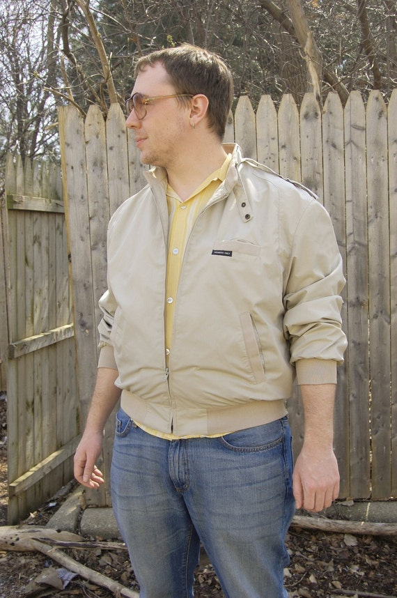 1980s members Only Jacket taupe Medium size 42 Vintage
