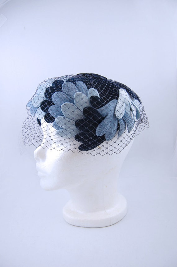 1950s Blue Scalloped Hat with  birdcage Veil