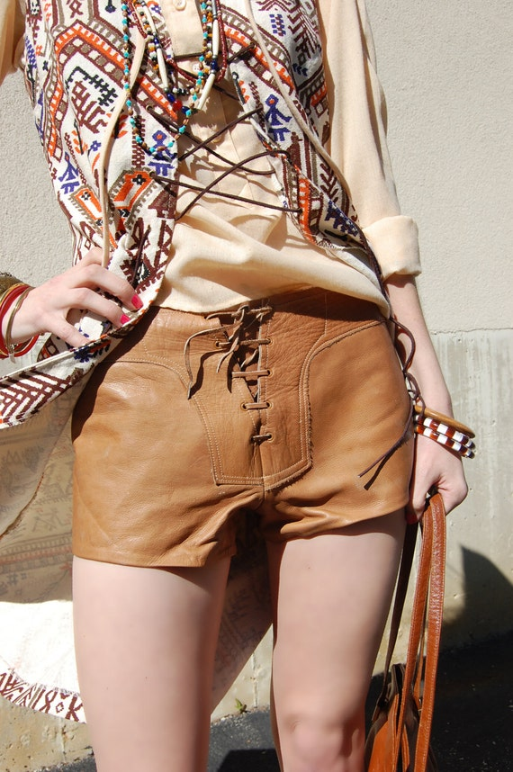 Vintage 60s Leather Hot Pants / leather Shorts 1960s 1970s