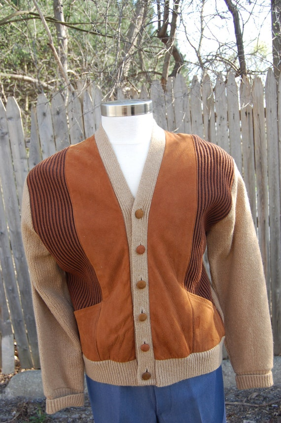 1960s Suede and Knit Mens Sweater