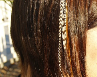 CLIP - IN Feather Hair Extension - Red/Ginger, Black and Natural Grizzly Rooster. Hair Feathers. Clip on Feathers