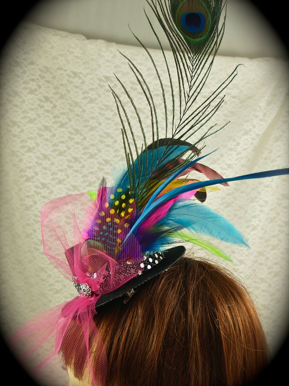 FAT TUESDAY Mini Top Hat Fascinator Clip - Peacock, Pink, Blue, Green, and Yellow Feathers. Mardi Gras/ Bachelorette Party