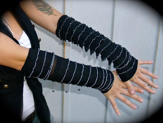 Long Arm Warmers Fingerless - Black & White Ruffle Spandex. Burning Man, Rave