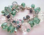 SALE Dew on the Grass - Mint Green Charm Bracelet
