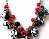 Black, White and Red Beaded Necklace - Antiqued Brass - Bamboo Glass Beads