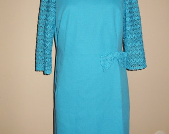 Vintage Aqua Crocheted Plus Size Dress with Bow