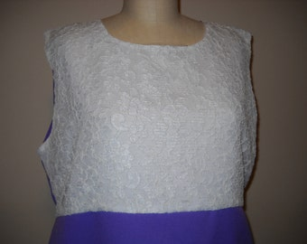 Lovely Lavendar and White Lace Plus Size Dress