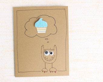 Funny Birthday Card - Unisex Birthday Card - Silly Birthday Card - Kids Birthday Card - Monster Birthday Card