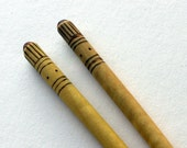 Wooden hair sticks with burnt design, OOAK