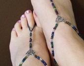 Dark matalic beaded Goddess barefoot sandals