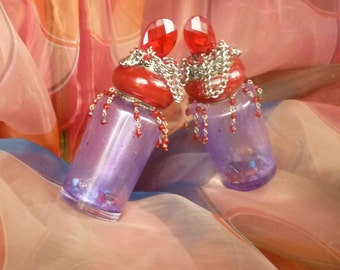 Red and Purple Glass Spirit Jar Bottle by gothB4play