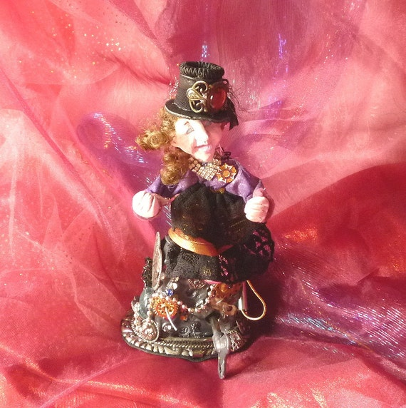 Steampunk Doll, Musical Assemblage Doll, Art Sculpture by gothb4play
