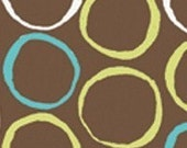 MONALUNA Monaco Organic Cotton Fabric CIRCLES - TEAL low shipping