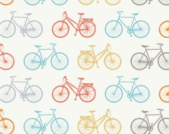Birch-  Bike It - Organic Cotton Fabric- Fantastic Shipping Rates