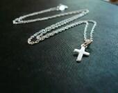 Tiniest Silver Cross Necklace,  FREE SHIPPING U.S. ADDRESS