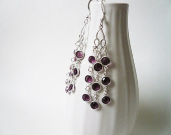 Swarovski Deep Purple Chandelier Earrings