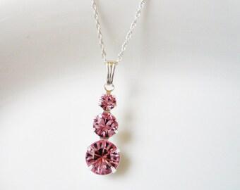 Pink Swarovski Pendant Necklace