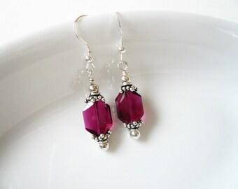 July Birthstone, Victorian Ruby Earrings