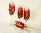 Crystal Champagne Flutes Hand Painted - Crimson Red and Soft Metallic Gold Roses - Fine Crystal Set of 4 - Fall Winter Wedding Party Gift