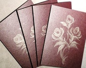 Cards Greeting Note Cards Hand Painted - Modern Silver Roses on Deep Ruby Maroon Iridescent Card Stock - Set of 4 - Contemporary Abstract