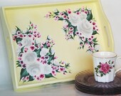 Hand Painted Serving Tray - Hand Painted White Roses, Pink Cherry Blossoms on Soft Yellow Wood Tray - Hostess Bed Tray