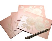 Hand Painted Greeting Cards - Romantic Rose Pearl with Hand Painted White Roses - Set of 4 - Matching Hand Painted Envelopes