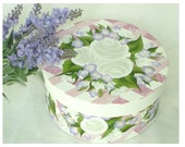 Painted Hat Box - Dusty Pink Gingham Background, White Roses, Blue Flowers - Decorative Storage Box Wedding Card Box 7.5 inches