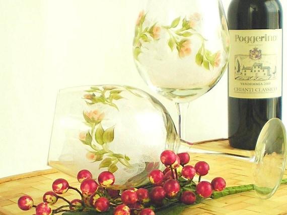 Hand Painted Wine Glasses - Peach Roses, Soft Orange Roses, Set of 4 - Wine Goblets