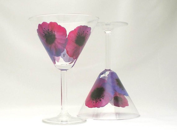 ON SALE Hand Painted Glasses - Rainbow Poppy Design - Hand Painted Martini Margarita Cocktail Glasses, Set of 2 Peacock Ready to Ship