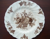 Vintage English Brown and White Transferware Plate Basket of Fruits and Flowers