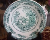 Teal Green Adams Transferware Candy Dish Berry Bowl  Fairy Villas Stone China