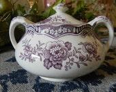 Purple Transferware Dual Handled Sugar Bowl or Tea Caddy Pheasants Birds Roses c 1930