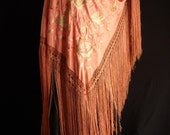 ANTIQUE VINTAGE SILK PIANO SHAWL CIRCA 1930S.  PEACH IN COLOR WITH PALE LARGE FLOWERS.  GYPSY GIRL, EMBROIDERED FUN.  EXTRA LARGE AND HEAVY