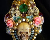 DARLENE MANDEL .... SKULL AND RHINESTONE COLLAGE RING.  LARGE AND FANCY.  COLORFUL AND FUN