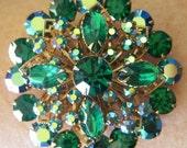 Vintage 1940s Green A.B. Rhinestone Brooch Pin. Aurora  Borealis and Fillagree