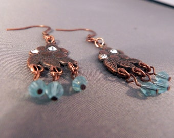 Earrings Copper floral dangle earrings Now On Sale!