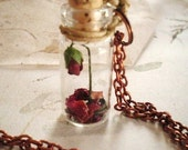 Beauty and the Beast Rose and Fallen Petals in a Glass Vial Necklace