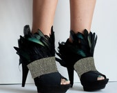 MOHAWK Gold and Black Feather Shoe Cuff