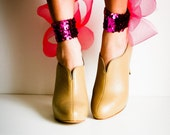 SALE Hot Pink Sequin Abstract Bow Ankle Cuffs