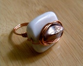 White and Lavender Glass Stone Ring With Copper Wire Accent