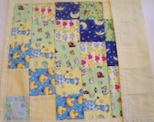 Pale Yellow Patchwork Flannel Doll Quilt