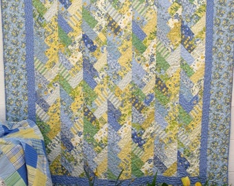 Blue and Yellow Floral Jelly Braids Quilted Lap Quilt