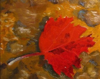 Small oil painting, red maple leaf, autumn paintings, fall foliage, still life painting, 6 x 6 gallery wrap canvas