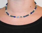Oceanic glass, crystal, and pearl choker necklace