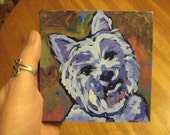 White Highland Terrier- 4x4 Giclee Print of Original Painting