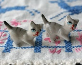 Set of 2 Vintage Itty Bitty Gray And White Striped Kitty Cats Figurines Tiny Porcelain Ceramic Miniature Kittens